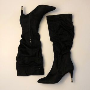 Apt.9 Junilee Black Faux Suede Ruched boots